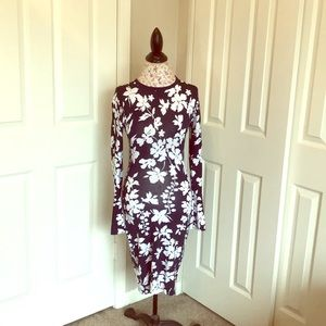 Michael Kors Navy and White Floral Print Dress